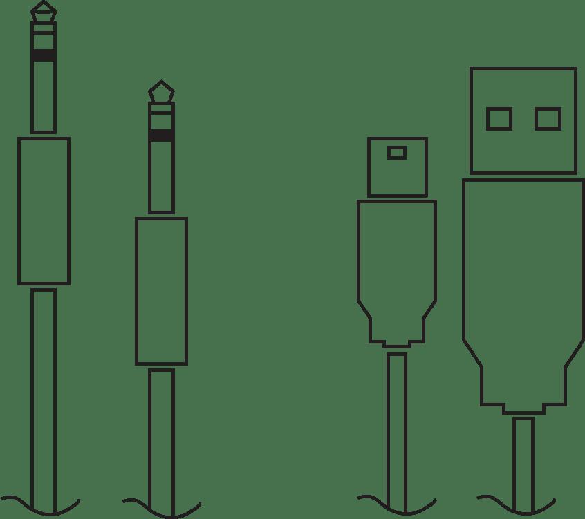 Audio és USB kábel